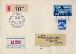 1947 , SUIZA , CERTIFICADO , PRIMER VUELO DE SWISSAIR SUIZA - USA , AL DORSO FECHADORES DE LOS ANGELES Y WASHINGTON - Svizzera