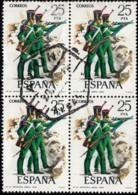 SPAIN- Scott #1993 Infantry Riflemen Uniform / Used Block Of 4 Stamps (bk1113) - 1971-80 Oblitérés