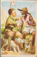 SCOUTS - HUNGARY -1938 - EUROPEAN & AFRICAN SCOUTS POSTCARD UNUSED - Scouting