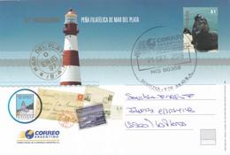 50 ANIVERSARIO PEÑA FILATELICA MAR DEL PLATA-YEAR 2008. POSTAL STATIONERY ENTIER CIRCULEE. ARGENTINE- BLEUP - Postal Stationery