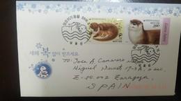 L) 2016 KOREA, ANIMALS, NATURE, EURASIAN OTTER, LUTRA LUTRA, CIRCULATED COVER FROM KOREA TO SPAIN - Korea, North