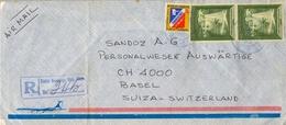 1975 , REP. DOMINICANA , SANTO DOMINGO - BASILEA , SOBRE CERTIFICADO , CORREO AÉREO , FARO DE COLÓN - Dominican Republic