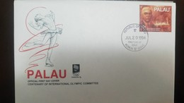 L) 1994 PALAU, CENTENARY OF INTERNATIONAL OLYMPIC COMMITTE, BARON PIERRE DE COUBERTIN, 29C, FDC - Palau