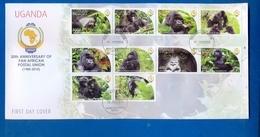 UGANDA FDC First Day Of Issue 2011 30th Anniversary Papu GORILLAS Primates #111 - Uganda (1962-...)