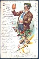 1902 ALEMANIA  , TARJETA POSTAL CIRCULADA , CERVEZA , BREWERIANA , ILUSTRADORES , LANDSHUT - TRAUNSTEIN - Otros Ilustradores