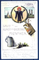 1904 ALEMANIA  , TARJETA POSTAL CIRCULADA , CERVEZA , BREWERIANA , ILUSTRADORES , MÜNICH - Otros Ilustradores