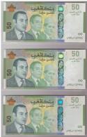 Maroc Série De 3 Billets De 50 Dirhams Dont Les Numéros Se Suivent - Maroc