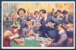 1940 ALEMANIA  , TARJETA POSTAL CIRCULADA , CERVEZA , BREWERIANA , ILUSTRADORES , FÜRTH - Otros Ilustradores