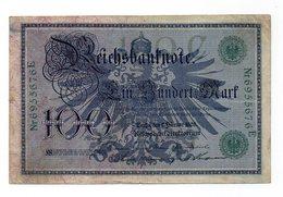 Impero Tedesco - Germania - 1908 - Banconota Da 100 Marchi - Usata - (FDC12160) - [ 2] 1871-1918 : Impero Tedesco