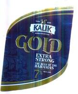 BAHAMAS : KALIK Beer  KALIK GOLD With Top And Back Label - Beer