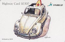 Carte Prépayée Japon - VIEILLE VOITURE - VOLKSWAGEN KÄFER By BOW - OLDTIMER CAR Japan Card - AUTO - HW 3211 - Cars