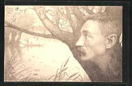 Künstler-AK Charles Denizard (Orens): Portrait Des Dichters David Picard Auf Einem Baum - Illustrators & Photographers