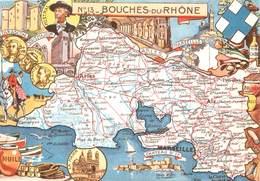 """/ CPSM FRANCE 13 """"Bouches Du Rhône"""" / CARTE GEOGRAPHIQUE - France"""