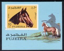 Fujeira 1971 Horses Imperf M/sheet (Mi BL 84B) U/m ANIMALS - Fujeira