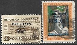 Dominican Republic   1961  Sc#539-40  36c & $1 Surcharges Used  2016 Scott Value $5 - Dominican Republic