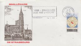 Enveloppe  FDC  Flamme  1er  Jour   FRANCE    BiMillénaire   De  STRASBOURG   1988 - FDC