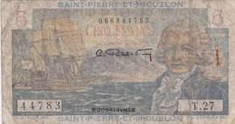 Caisse Centrale De La France D'Outre-Mer - Saint-Pierre Et Miquelon - Billet De 5 Francs - Bougainville - France