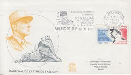 Enveloppe   FDC  Flamme   1er   Jour    FRANCE     Maréchal   DE  LATTRE  DE  TASSIGNY    BELFORT  1989 - FDC
