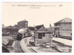 CPM TRAIN VOIR DOS 69 Pontcharra Sur Turdine Locomotive Vapeur En Gare Train Mixte PUB Le Chat - Pontcharra-sur-Turdine