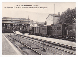 CPM TRAIN VOIR DOS 69 Villefranche Sur Saône Rame Tram Tramway De L'Ain En Gare Du Beaujolais CFB - Villefranche-sur-Saone