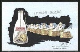 Künstler-AK Sign. Bianco: Le Peril Blanc, Lait Falsifie, Babys Trinken Milch - Illustratori & Fotografie