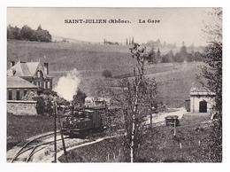 CPM TRAIN VOIR DOS 69 St Julien Ligne Villefranche Sur Saône Beaujeu Et Monsols Locomotive Vapeur - Villefranche-sur-Saone