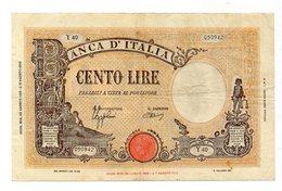 Italia - Regno - Banconota Da Lire 100 - BARBETTI - TESTINA - B.I. - Azzolini - Urbini - Decreto 23.8.1943 - (FDC12164) - [ 1] …-1946 : Kingdom