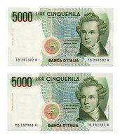 """Italia - 2 Banconote Consecutive  Da Lire 5.000 """" Bellini - Serie TD 297302 E 03 H - Q/FDS - (FDC12166) - [ 2] 1946-… : Républic"""