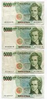 """Italia - 4 Banconote  Da Lire 5.000 """" Bellini - Vedi Foto - (FDC12167) - [ 2] 1946-… : Républic"""