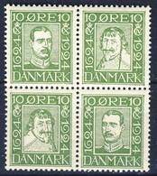 +D2812. Denmark 1924. Post Jubilee. Bloc Of 4. Michel 131,134,137,140. MNH(**) - Neufs