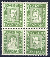 +D2812. Denmark 1924. Post Jubilee. Bloc Of 4. Michel 131,134,137,140. MNH(**) - Unused Stamps