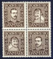 +D2814. Denmark 1924. Post Jubilee. Bloc Of 4. Michel 133,136,139,142. MNH(**) - Unused Stamps