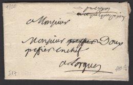 VAR : Pli De DRAGUIGNAN De 1720 En Port Payé Avec Marque Manuscrite Port Payé De Draguignan > Sorgue - Marcophilie (Lettres)