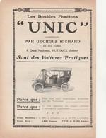 PUTEAUX 92 - Publicité 1910 Pour Voiture UNIC Construites Par GEORGES RICHARD à PUTEAUX - 002 - Voitures