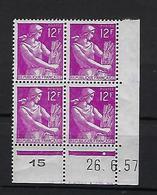 """FR Coins Datés YT 1116 """" Moisonneuse 12F Lilas """" Neuf** Du 26.6.57 - 1950-1959"""