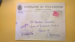1960 BUSTA COMUNALE DESTINATA PROCURA REPUBBLICA BOLLO SIRACUSANA COMUNE POLVERIGI TIMBRO UFFICIALE - 6. 1946-.. Repubblica