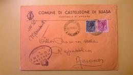 1960 BUSTA COMUNALE DESTINATA PROCURA REPUBBLICA BOLLO SIRACUSANA COMUNE CASTELLEONE DI SUASA TIMBRO UFFICIALE - 6. 1946-.. Repubblica