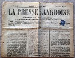 Timbre Type Sage 1 Centime Sur Journal 1878 La Presse Langroise Haute Marne Langres - Kranten