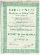 Action Ancienne - SOUTENCO - Manufacture De Souliers Tennis - Titre De 1929 - Rare - Sports
