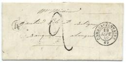 MP COMBEAUFONTAINE HAUTE SAONE POUR LANGRES 1849 / BOITE RURALE M ARBECEY - Marcophilie (Lettres)