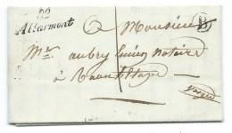 MP CURSIVE 82 ALLARMONT VOSGES POUR RAON L'ETAPE / 1852 / BOITE RURALE B LUVIGNY / INDICE 16 - Postmark Collection (Covers)