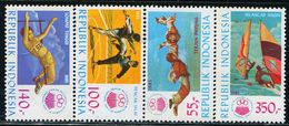 AT3746 Indonesia 1985 Channel Games High Jump Skydiving And Other 4VMNH - Jumping