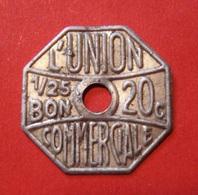 JETON L'UNION COMMERCIALE. 1/25 BON 20 C. - Professionali / Di Società