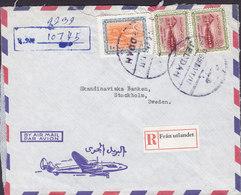 Saudi Arabia Air Mail RIYAD BANK Ltd. Registered Einschreiben (Purple Cds.) JEDDAH 1966 Cover Brief STOCKHOLM Sweden - Saudi-Arabien