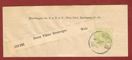 Alpenverein D O A V Ganzsache Streifband   1905;  2 Heller Merkur  Wels - Postwaardestukken