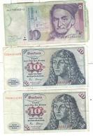 Lot De 3 Billets De 10 Mark Allemagne / Germany - [ 4] 1975-… : Juan Carlos I