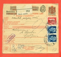 INTERI POSTALI I-BOLLETTINI PACCHI-LUBIANA OCCUPAZIONI ITALIANE- P4 - 1900-44 Vittorio Emanuele III