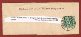 Alpenverein D O A V Ganzsache Streifband   1908;  2 Heller Merkur - Postwaardestukken