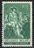 BELGIO - 1959 - GIORNATA DEL FRANCOBOLLO: CARLO V RICEVE IL GIURAMENTO DI J. B. TASSO - USATO - Oblitérés