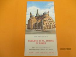Fascicule Touristique/Guide Populaire De St Antoine De Padoue/ Hommage Aux Bienfaiteurs/ Années 1950              DT23 - Tourism Brochures